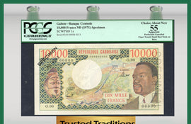 TT PK 0001s 1971 GABON 10000 FRANCS SPECIMEN PCGS 55 CHOICE ABOUT NEW