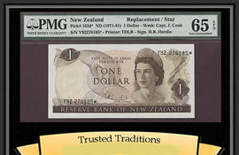 TT PK 0163d* 1971-81 NEW ZEALAND 1 DOLLAR QUEEN ELIZABETH II STAR NOTE PMG 65 EPQ