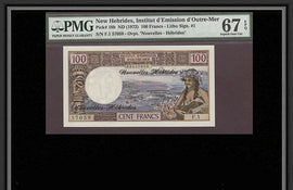 TT PK 0018b 1972 100 FRANCS NEW HEBRIDES PMG 67 EPQ SUPERB GEM UNCIRCULATED