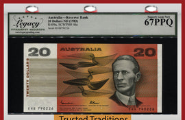 TT PK 46e 1983 AUSTRALIA RESERVE BANK 20 DOLLARS SMITH LCG 67 PPQ TIED AS BEST!
