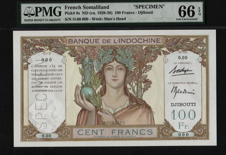 TT PK 8s 1928-38 FRENCH SOMALILAND 100 FRANCS PMG 66 EPQ GEM POP 10 NONE FINER!