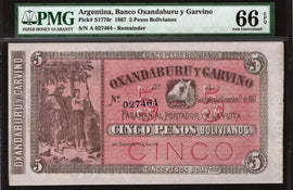 TT PK S1776r 1867 ARGENTINA 5 PESOS BOLIVIANOS PMG 66 EPQ TOP POP FINEST KNOWN!