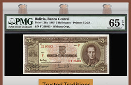 TT PK 0138a 1945 BOLIVIA 5 BOLIVIANOS PMG 65 EPQ GEM UNCIRCULATED POPULATION ONE