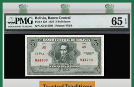 TT PK 0129 1928 BOLIVIA 5 BOLIVIANOS PMG 65 EPQ GEM UNCIRCULATED POPULATION ONE