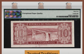 "TT PK 0196b 1952 PARAGUAY 10 GUARANIES ""GENERAL GARAY"" PMG 65 EPQ SCARCELY GRADED"