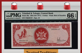 TT PK 0030a 1964 TRINIDAD & TOBAGO CENTRAL BANK $1 DOLLAR PMG 66 EPQ NONE FINER!