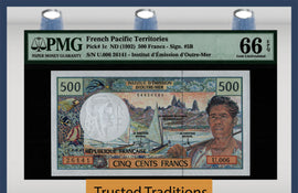 TT PK 1c 1992 FRENCH PACIFIC TERRITORIES 500 FRANCS PMG 66 EPQ GEM UNC.TOP POP 4
