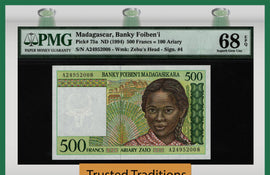 TT PK 75a 1994 MADAGASCAR 500 FRANCS PMG 68 PPQ SUPERB GEM UNCIRCULATED TOP POP