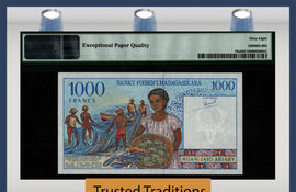 TT PK 76a 1994 MADAGASCAR 1000 FRANCS PMG 68 PPQ SUPERB GEM UNCIRCULATED TOP POP