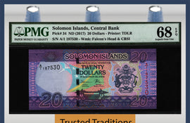 TT PK 34 2017 SOLOMON ISLANDS CENTRAL BANK 20 DOLLARS PMG 68 EPQ FINEST KNOWN!