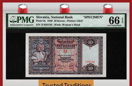 TT PK 9s 1940 SLOVAKIA / REPUBLIC 50 KORUN SPECIMEN PMG 66 EPQ NONE GRADED FINER