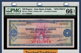 Copy of TT ND (1970s) STATE BANK OF INDIA TRAVELLERS CHEQUE 100 RUPEES SPECIMEN PMG 66Q!