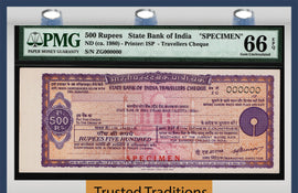 TT ND (1980s) STATE BANK OF INDIA TRAVELLERS CHEQUE 500 RUPEES SPECIMEN PMG 66Q!