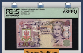 TT PK 0027a 1995 GIBRALTAR 20 POUNDS QUEEN ELIZABETH II PCGS 68Q SUPERB NONE FINER