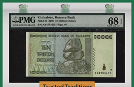 TT PK 0088 2008 ZIMBABWE 10 TRILLION DOLLARS PMG 68 EPQ SUPERB GEM UNCIRCULATED!