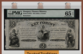 TT PK S0142r1 1852 HUNGARY 2 FORINT PHILADELPHIA PMG 65 EPQ POP ONE FINEST KNOWN!