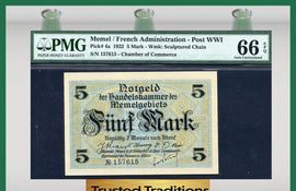 TT PK 0004a 1922 MEMEL / FRENCH ADMINISTRATION - POST WWI 5 MARK PMG 66 EPQ GEM