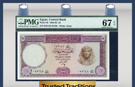 TT PK 0040 1964-65 EGYPT CENTRAL BANK 5 POUNDS PMG 67 EPQ SUPERB GEM UNCIRCULATED!