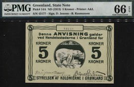 "TT PK 0014A 1913 GREENLAND 5 KRONER ""POLAR BEAR"" PMG 66 EPQ POP TWO NONE FINER!"