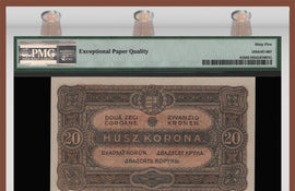 TT PK 0061 1920 HUNGARY 20 KORONA PMG 65 EPQ GEM UNCIRCULATED ONLY ONE FINER!
