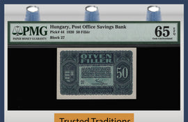 TT PK 0044 1920 HUNGARY 50 FILLER PMG 65 EPQ GEM UNCIRCULATED FINEST KNOWN!