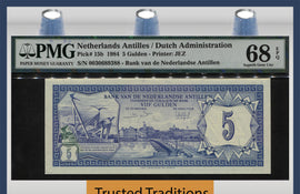 TT PK 0015b 1984 NETHERLANDS ANTILLES 5 GULDEN PMG 68 EPQ SUPERB GEM NONE FINER
