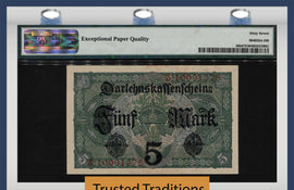 TT PK 0056b 1917 GERMANY STATE LOAN CURRENCY NOTE 5 MARK PMG 67 EPQ SUPERB GEM