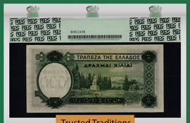 TT PK 0111a 1939 GREECE 1000 DRACHMAI ON 100 DRACHMAI PCGS 66 PPQ GEM NONE FINER