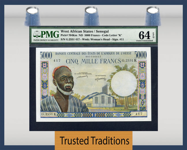 TT PK 0704Km ND WEST AFRICAN STATES / SENEGAL 5000 FRANCS PMG 64 EPQ CHOICE UNC
