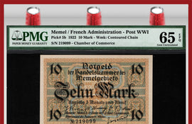 TT PK 005b 1922 MEMEL / FRENCH ADMINISTRATION POST WWI 10 MARK PMG 65 EPQ GEM UNC.