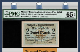 TT PK 003b 1922 MEMEL / FRENCH ADMINISTRATION POST WWI 2 MARK PMG 65 EPQ TOP POP