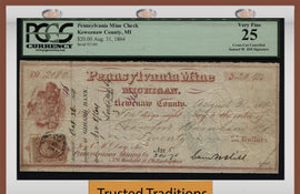 "TT 1864 PENNSYLVANIA MINING CO. $20 CHECK ""WHAT THE SAM HILL"" PCGS 25 VERY FINE!"