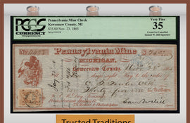 "TT 1865 PENNSYLVANIA MINING CO. $35 CHECK ""WHAT THE SAM HILL"" PCGS 35 VERY FINE!"