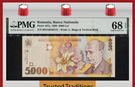 TT PK 107a 1998 ROMANIA BANCA NATIONALA 5000 LEI PMG 68 EPQ SUPERB GEM TIED BEST