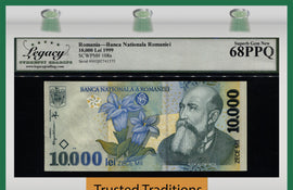 TT PK 108a 1999 ROMANIA BANCA NATIONALA 10000 LEI LCG 68 PPQ SUPERB GEM NEW!