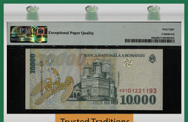TT PK 108a 1999 ROMANIA 10000 LEI PMG 68 EPQ SUPERB NONE FINER 1 OF 2 SEQUENTIAL