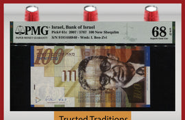 TT PK 0061 2007 / 5767 ISRAEL BANK OF ISRAEL 100 SHEQALIM PMG 68 EPQ SUPERB GEM!
