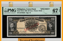 TT PK 137s3 1949 PHILIPPINES 20 PESOS SPECIMEN PMG 67 EPQ SUPERB GEM NONE FINER