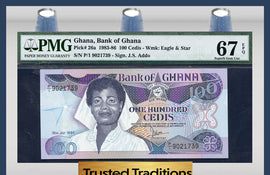 TT PK 0026a 1983-86 GHANA 100 CEDIS PMG 67 EPQ SUPERB GEM POP ONE FINEST KNOWN!