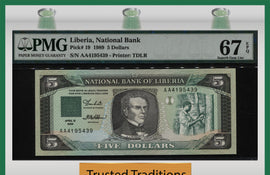 TT PK 0019 1989 LIBERIA NATIONAL BANK 5 DOLLARS PMG 67 EPQ SUPERB POPULATION ONE!