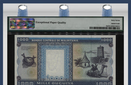 TT PK 0007h 1996 MAURITANIA 1000 OUGUIYA PMG 67 EPQ- SCARCELY GRADED- FINEST KNOWN!