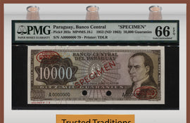 TT PK 203s 1952 PARAGUAY 10000 GUARANIES SPECIMEN PMG 66 EPQ TOP POP NONE FINER!