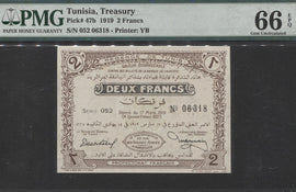 TT PK 0047b 1919 TUNISIA TREASURY 2 FRANCS PMG 66 EPQ CENTURY OLD ONLY ONE SEEN!