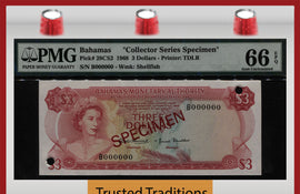 "TT PK 0028CS2 1968 BAHAMAS 3 DOLLARS ""QUEEN ELIZABETH II"" PMG 66 EPQ FINEST KNOWN!"