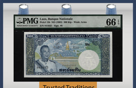 "TT PK 0013b ND (1963) LAOS 200 KIP ""SAVANG VATTHANA"" PMG 66 EPQ GEM UNCIRCULATED!"