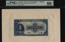 "TT PK 386p 1940-50 COLOMBIA 5 PESOS ORO ""FACE PROOF"" PMG 66 EPQ GEM ONLY 1 FINER"