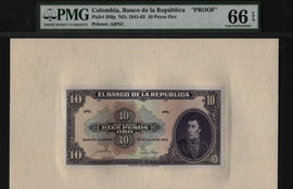 TT PK 389p 1941-63 COLOMBIA 10 PESOS ORO FRONT PROOF PMG 66 EPQ GEM ONLY 2 FINER