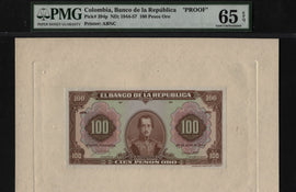 "TT PK 394p 1944-57 COLOMBIA 100 PESOS ORO ""FRONT PROOF"" PMG 65 EPQ GEM TOP POP!"