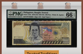 TT PK 173b 1949 PHILIPPINES REPUBLIC 500 PISO PMG 66 EPQ GEM UNC. FINEST KNOWN!