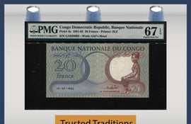 TT PK 004a 1961-62 CONGO DEMOCRATIC REPUBLIC 20 FRANCS PMG 67 EPQ NONE FINER